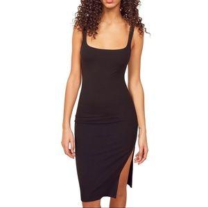 Reformation Black Ribbed Side Slit Jenny Dress